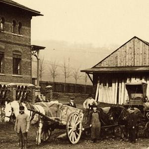 Lumbeck Pferde ziehen Holzkarren, Heegerstraße Langenberg